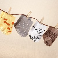 Sock Safari - 4 Pairs of Adorable Baby Socks - 0-6 Months