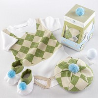 Preppy Argyle Three Piece Golf Layette Set in Golf Cart Packaging