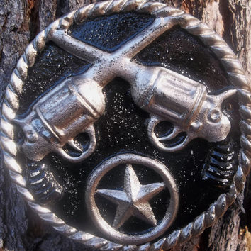 Black Wall Plaque - Western Style Wall Decor - Gun Lovers - Western Star - Home Decor- Wall Hanging - Cowboy