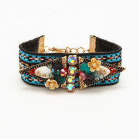 Thick Tribal Bejeweled Bracelet