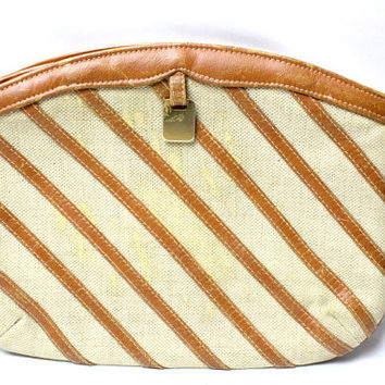 Vintage Tan Leather Stripe Straw Clutch