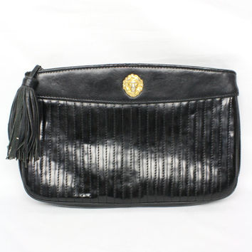 Vintage Anne Klein Lion's Head Black Leather Tassel Clutch