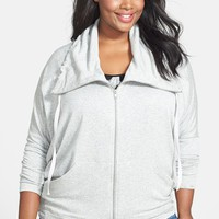 Pink Lotus Front Zip Fleece Knit Jacket (Plus Size) | Nordstrom