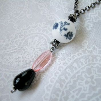 Porcelain Bead Long Gunmetal Necklace Black Onyx Pink Glass Cone 24 In