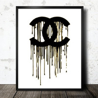 CHANEL CC Art Print - Black & Gold Dripped Paint Logo Fine Art Print - Coco Chanel Inspired Home Decor - High Fashion Modern Art Prints