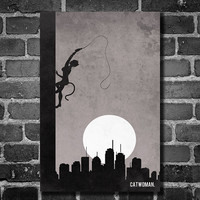 Catwoman retro poster minimalist art movie poster by Harshness