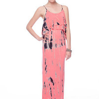 Striped Tie Dye Maxi in Lime :: tobi