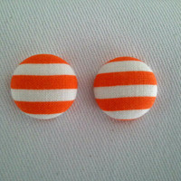 Orange and white striped button earrings by ButtonUpp on Etsy