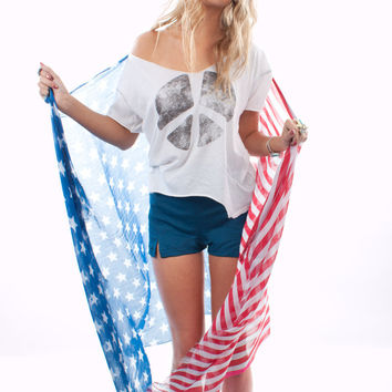 American Flag Scarf by Gypsy Junkies | Shop American Flag Clothing at MessesOfDresses.com