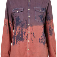 MOTO Lilac Dip Dye Denim Shirt - Tops  - Clothing  - Topshop