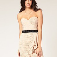 Lipsy | Lipsy Vip Dress Contrast Belt Ruched at ASOS
