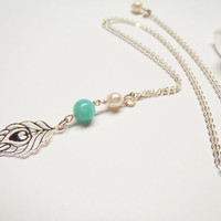 Peacock Feather Peruvian Amazonite Sterling Silver by Tasha808
