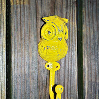 "Bright Yellow ""OWL"" Wall Hook by AquaXpressions"