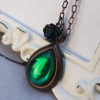 Emerald Teardrop and Rose Necklace by lunarbelle on Etsy