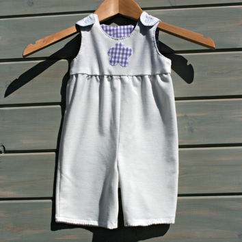 Baby Overalls Infant Dungarees Babies Rompers 1M Boys Girls Casual wear Cream Heavy Jersey cotton Lilac Royal Gingham Individually handmade
