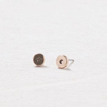 AEO Women's Rose Gold Star & Moon Earrings (Rose Gold)