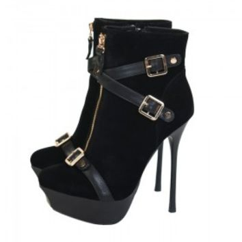 Velvet Buckle And Zip Through Ankle Boot 140mm - Shoes | Online Boutique For Women