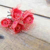 Red  Rose Wedding Hair Pins, Ivory Bridal Hair Pins, Hair Accessories, Bridesmaid Hair, Woodland - Set of 6