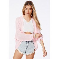 Missguided - Cecyla Batwing Cardigan In Baby Pink