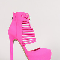 Qupid Ravish-72 Neon Strappy Almond Toe Platform Pump