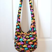 Hobo Bag, Sling Bag, Mushrooms, Colorful, Hippie Purse, Crossbody Bag