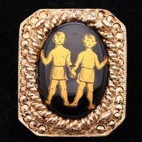 Golden boys on black Pin | VintageAnelia - Jewelry on ArtFire