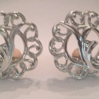 Vintage Sarah Coventry Silver Scrolled Earrings Costume Jewelry