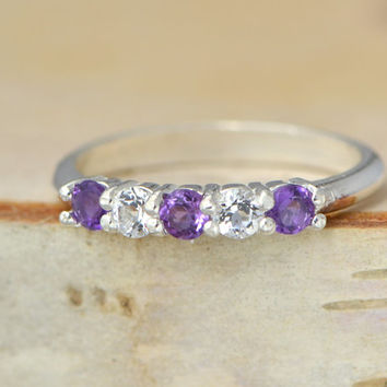 Christmas In July Amethyst Ring - Sterling Silver Ring - Gemstone Jewelry - Purple Gemstone - February Birthstone - Purple Ring