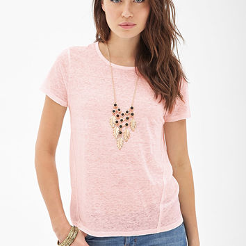 LOVE 21 Semi-Sheer Linen Tee
