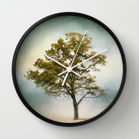 Bleached Sage Green Cotton Field Tree - Landscape  Wall Clock by Jai Johnson