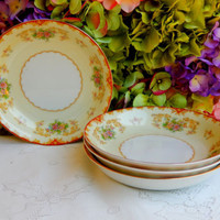4 Beautiful Vintage Noritake Soup Bowls ~ Floral ~ Red ~ Gold ~ Scrolls