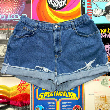 High Waisted Jean Shorts - 90s Dark Stone Washed Jean Shorts - High Waist, Frayed, Rolled Up, Cuffed Shorts by Gitano Plus Size 16 18