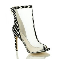 Chevron Design Peep Toe Mesh Stiletto Heel Dress Bootie Sandals