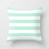 Stripe Horizontal Mint Green Throw Pillow by BeautifulHomes | Society6