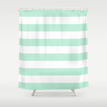 Stripe Horizontal Mint Green Shower Curtain by BeautifulHomes | Society6