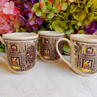 3 Beautiful Vintage Johnson Brothers Mugs ~ Cups ~ Merry Christmas ~ Holly
