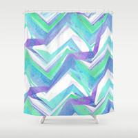 Ocean Summer Chevron Shower Curtain by Ally Coxon