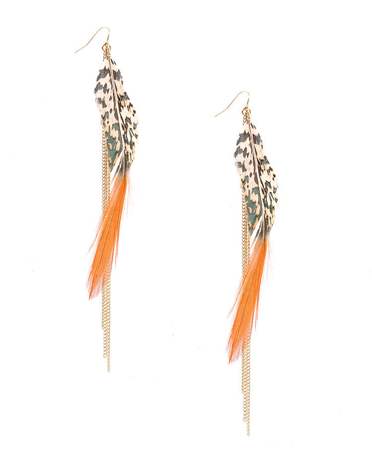 Chain &amp; Feather Earrings | FOREVER21 - 1011409818