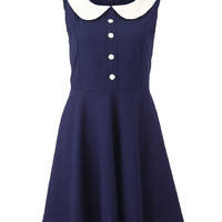 Block Peter Pan Collar Sleeveless Dress [NCSKD0142] - &amp;#36;35.50 :