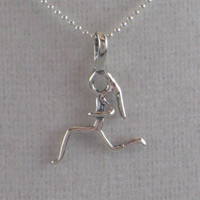 Running Girl 16 inch Sterling Silver I AM a RUNNING by TheRunHome