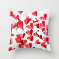 Hearts Pillow Cover Valentine Hearts Red White Love Whimsical Home Decor, Retro Style Living Room Decor