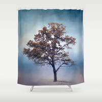French Blue Cotton Field Tree - Landscape Shower Curtain by Jai Johnson