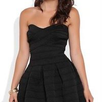 Strapless Bandage Skater Dress with Scalloped Edges