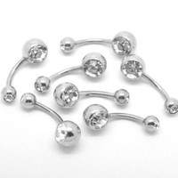 Housweety 10PCs 316L Surgical Grade Steel Rhinestone Belly Button Navel Ring Bar 23x8mm