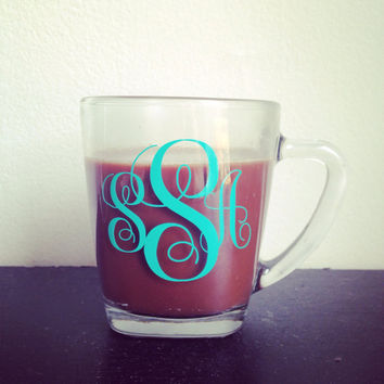 Monogramed clear glass coffee mug custom coffee mug