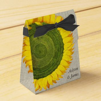 Sunflower Linen Personalized Wedding Favor Box