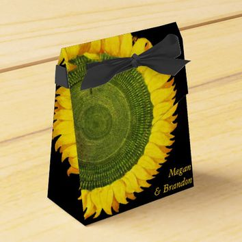 Sunflower Black Wedding Favor Box