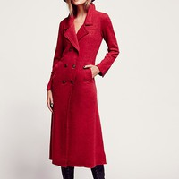 Free People Womens Maxi Double Breast Sweater Coat - True Red,