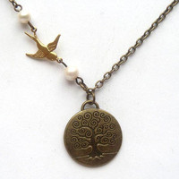 Antiqued Brass Tree  Bird Pearl Necklace by gemandmetal on Etsy