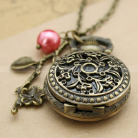 Pocket watchwatch necklace with flower design locket by mosnos